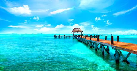 Wall Murals Caribbean Exotic Caribbean island. Tropical beach resort. Travel or vacations concept