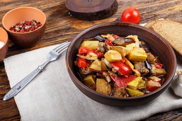 stewed eggplant on the plate