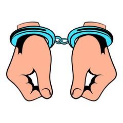 Hands in handcuffs  icon, icon cartoon