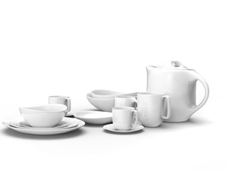 Pretty rounded white porcelain tea set