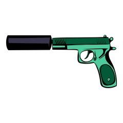 Pistol icon cartoon