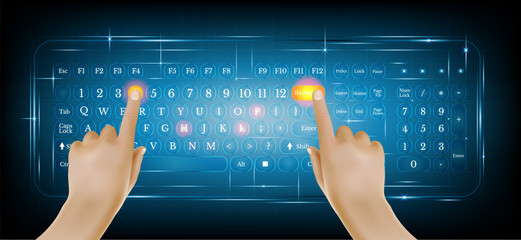 Virtual shiny computer pc keyboard or keypad with two realistic hands on blue background