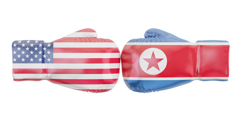 Boxing gloves with USA and North Korea flags. Governments conflict concept, 3D rendering