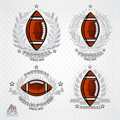 American football ball with silver wreath and ribbon on light background. Set of sport logo for any team