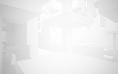 Abstract white, brown and yellow parametric interior with window. 3D illustration and rendering.