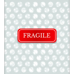 Realistic bubble wrap texture background with fragile sticker