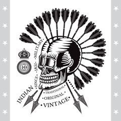 Skull with cross arrows with ray and crown. Military heraldic label on white background