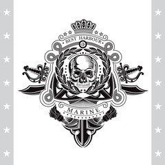 Skull front view in center of wreath with cross swords and anchor behind. Heraldic vintage label on white