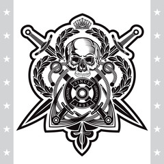 Skull front view with cross swords and anchor. Heraldic vintage label on white