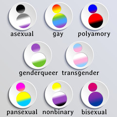 Set of stylized people icons with queer flag colors