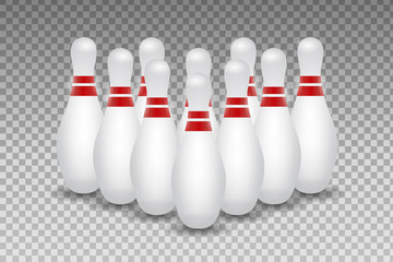 Vector realistic bowling skittles on the transparent background.