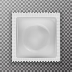 Vector realistic latex condom on the transparent background. Concept of contraceptive method and sexual protection.