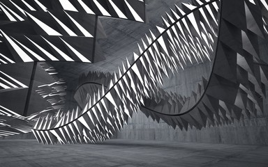 Empty dark abstract concrete room interior. Architectural background consisting of a pyramids. Night view of the illuminated. 3D illustration. 3D rendering