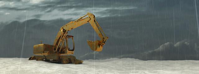 3d illustration of excavator