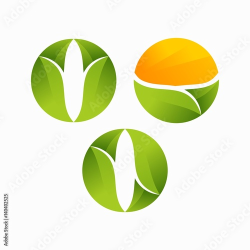 """modern O Initial Leaf, Agriculture Logo Vector"