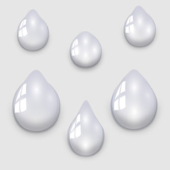 Set of transparent water droplets on a light gray background, illustration