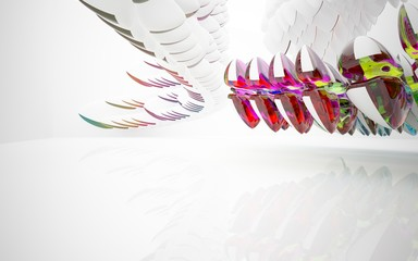 Abstract white interior in colored smooth glass array of sculptures in the form of eggs.  3D illustration and 3D rendering
