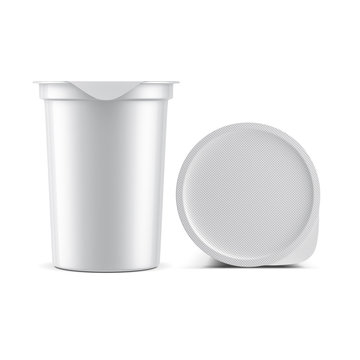 White Sour Cream Yogurt Cup with Silver Foil Lid Mockup, Cover top view, 3d rendering
