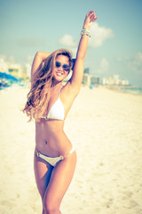 Happy, young, fresh, attractive smiling asian girl in bikini on beach vacation-filter