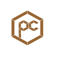 initial letter pc brown color logo vector