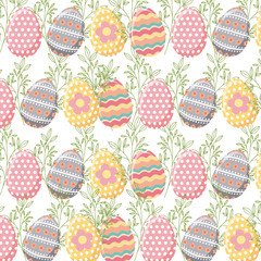 background with easter eggs. colorful design. vector illustration