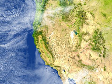 West coast of USA on planet Earth