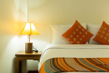 Bed and lamp