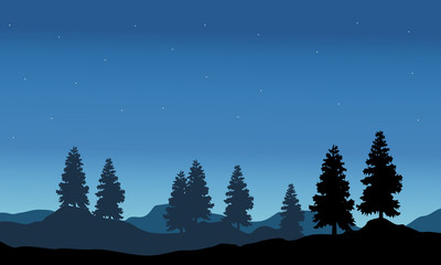 Vector illustration of nature landscape silhouette
