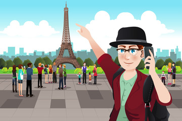 Tourist Taking Picture Near Eiffel Tower