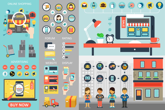 Online Shopping Infographic Elements