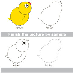Drawing worksheet. Small Yellow Chicken.