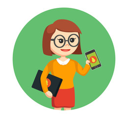 geek girl with laptop and smartphone in circle background