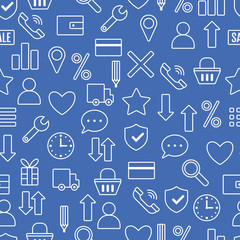 Icons e-Commerce. Flat linear objects, shopping symbols, elements for marketing. Seamless pattern