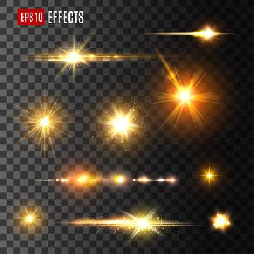 Gold light flash or star shine light vector icons