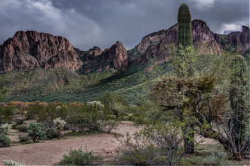 A Storm approaches the Superstition Mountains