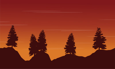 Silhouette tree on the hill landscape