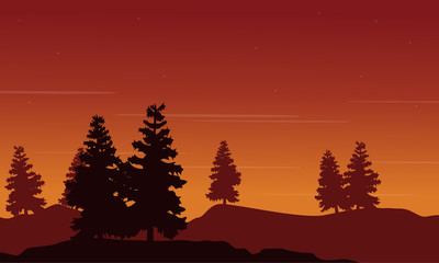 Vector illustration of spruce on hill landscape