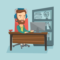 Business man with headset working at office.