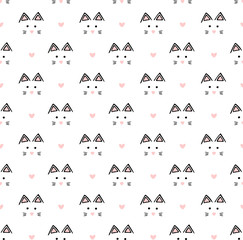 Muzzle of cats and pink hearts on white background. Seamless vector hand drawing pattern. Animal texture.