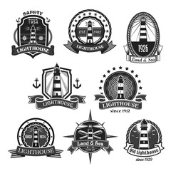 Lighthouse vector nautcal icons set