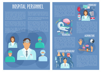 Hospital personnel doctors vector posters