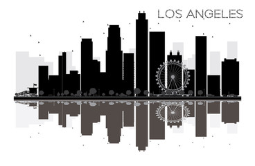Los Angeles City skyline black and white silhouette with reflection.