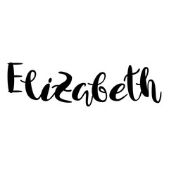 Female name - Elizabeth. Lettering design. Handwritten typography. Vector