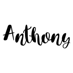 Male name - Anthony. Lettering design. Handwritten typography. Vector
