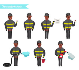 Set for animation of firefighters in uniform,