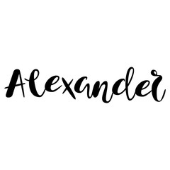 Male name - Alexander. Lettering design. Handwritten typography. Vector