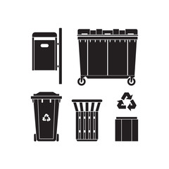 Recycling and garbage cans silhouettes collection. City trashcan icon set with wheeled dumpster or trash container, recycle bins and waste basket in outline design.