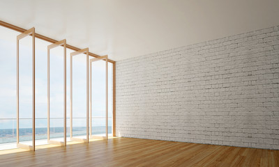New scene 3D rendering interior design of white brick wall living room and sea view
