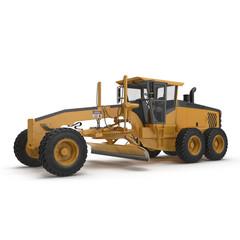 road grader bulldozer over white. 3D illustration