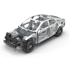 Angle from up Car Frame with Chassis on white. 3D illustration